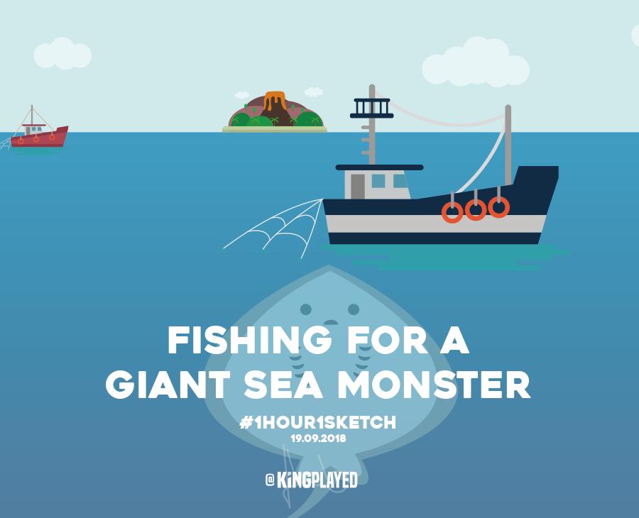 Illustration giant sea monster