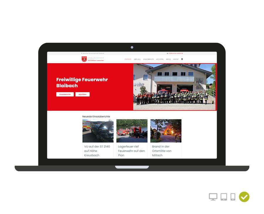 Webseite Freiwillige Feuerwehr Blaibach